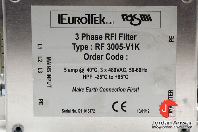 1 NIB RASMI RF3005-V1K RF3005V1K 3 PHASE RFI FILTER 5A 5 AMP 480V 17 AVAIL